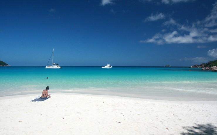 Leisure-Girl-on-Anse-Lazio-beach-Praslin-–-Seychelles